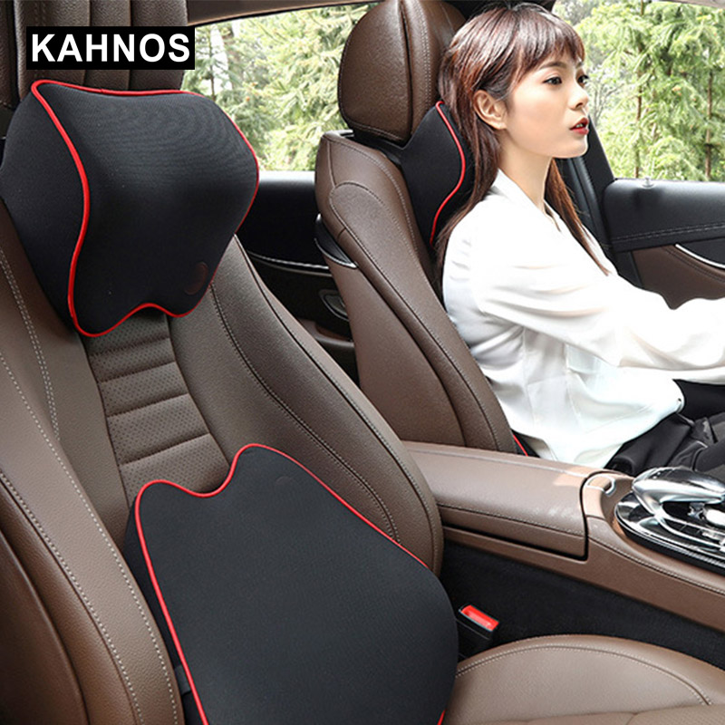 Poduszki pod szyję do samochodu pamięć bawełniana skóra oddychająca Auto zagłówek samochodowy zagłówek poduszka akcesoria do wnętrza samochodu
