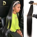 Прямые пряди, прямые 100% человеческие волосы, пряди 28, 30 дюймов, натуральные волосы 3, 4 пряди, бразильские переплетенные человеческие волосы д...