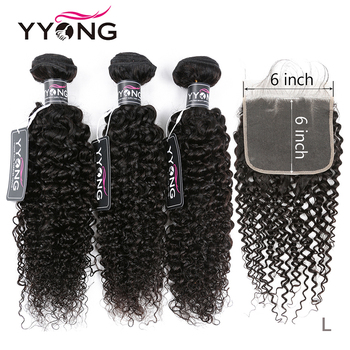 Yyong 6x6 Closure With Bundles Kinky Curly 3/4 Bundles Human Hair With Closure Peruvian Remy Hair Bundles With Lace Closure image