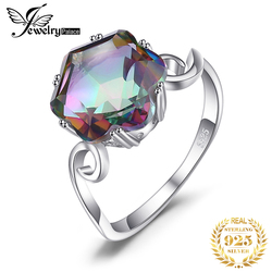JewPalace 3ct Original Regenbogen Mystic Topaz Ring 925 Sterling Silber Ringe für Frauen Engagement Ring Silber 925 Edelsteine Schmuck