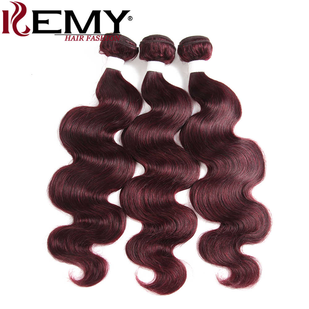 99J/Burgundy Red Color Human Hair Bundles KEMY HAIR Brazilian Body Wave  Human Hair Extension Non-Remy Hair Weave Bundles