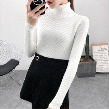 Bonjean Autumn Winter Knitted Jumper Tops turtleneck Pullovers Casual Sweaters Women Shirt Long Sleeve Tight Sweater Girls 6