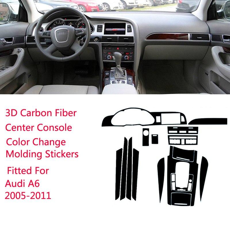 Новые 3D наклейки из углеродного волокна для салона автомобиля, центральной консоли, меняющие цвет, наклейки для Audi A6 2005-2011