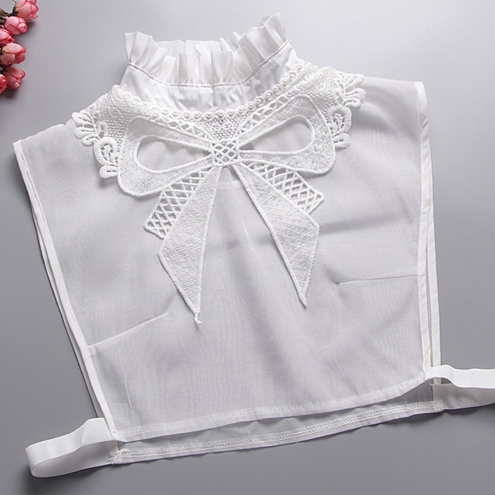New Bow Lace Fake Collar White Tie Vintage Detachable Collar False Collar Lapel Blouse Top Women Clothes Accessories Valse Kraag