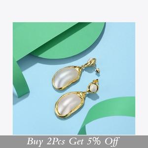 Image 2 - Enfashionヴィンテージ大きな巻き貝女性ゴールドカラーナチュラル母の真珠のイヤリングファッションジュエリーoorbellen E191024