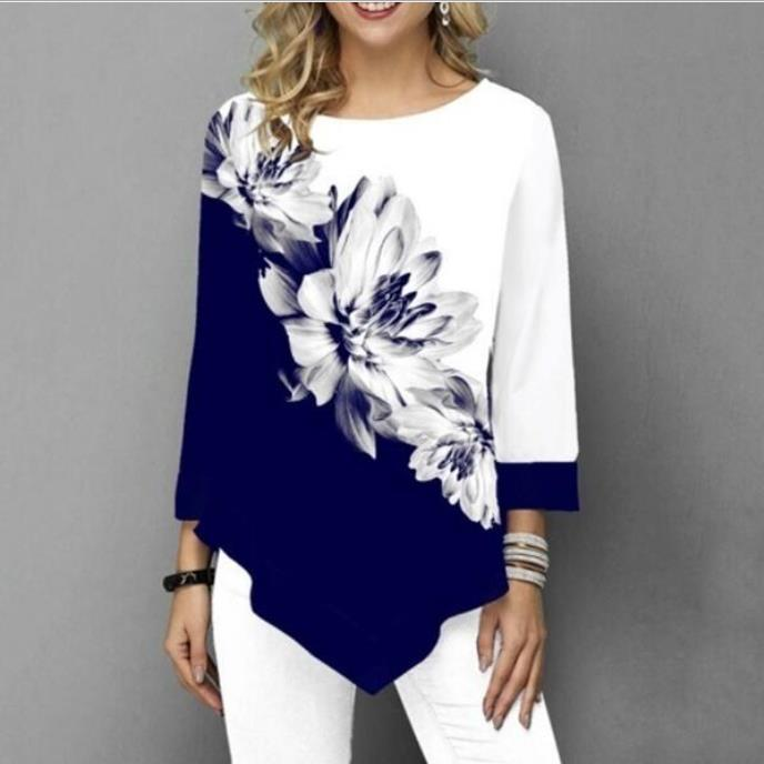 Shirt Women Spring Summer Printing  Blouse 3/4 Sleeve Casual Hem Irregularity Female Fashion Shirt Tops Plus Size