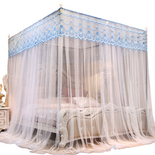 Lato moskitiera gospodarstwo domowe 1 8m łóżko 1 5 M sąd księżniczka podwójny wspornik ze stali nierdzewnej zasłony wiszące artykuły domowe tanie tanio Trzy-drzwi Uniwersalny Czworoboczny Domu Dorosłych Pałac moskitiera Owadobójczy traktowane Poliester bawełna