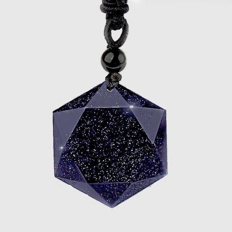 Transporte da gota Azul Areia Pedra Seis-estrela Colar Pingente Aventurina Natural de Obsidiana Colar de Estrela Amantes Da Sorte Para As Mulheres E me