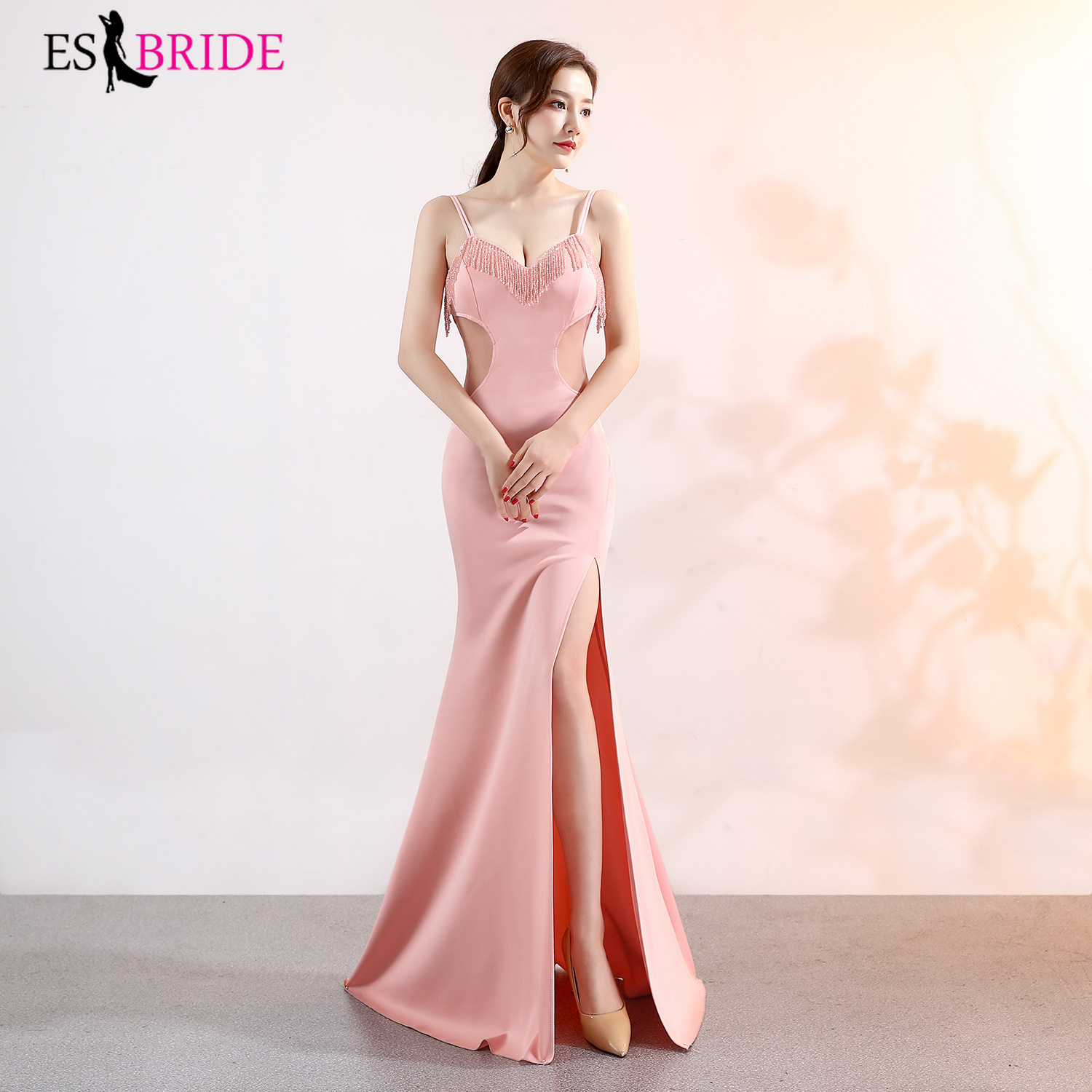 Satin Evening Dresses Long ES2913-1 Beading Sexy Deep V-Neck Hollow Out Backless Formal Occasion Party Gowns 2019