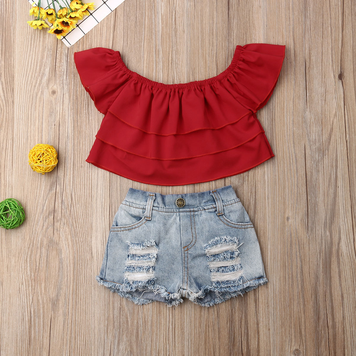 Pudcoco Summer Toddler Baby Girl Clothes Off Shoulder Ruffle Crop Tops Denim Ripped Short Pants 2Pcs Outfits Clothes Summer