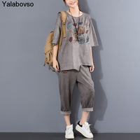 Two Piece Suit Female Tracksuit Women Spring And Summer 2020 New Large Women's Loose Casual Retro Short Sleeve Fish Pritning