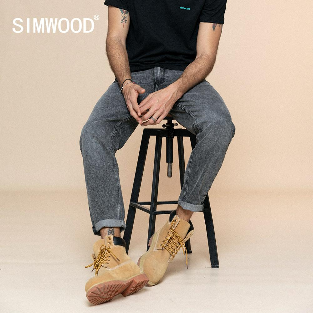 SIMWOOD 2020 Spring New Jeans Men Comfortable Tapered Ankle-Length Black Jean Denim Trousers Plus Size Brand Clothing SJ110138