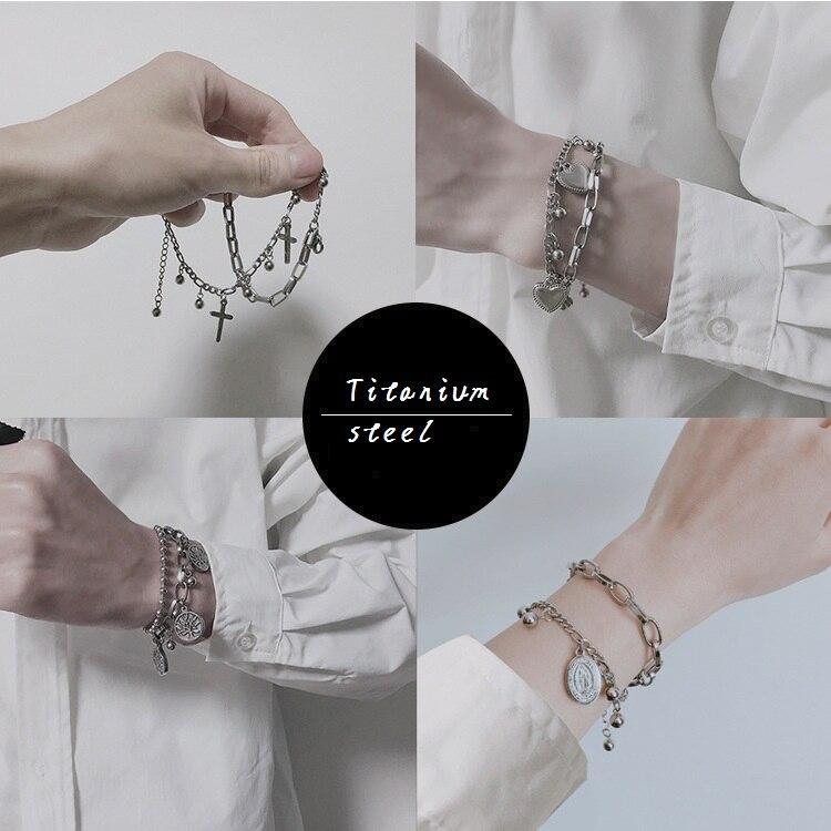 New Stainless Steel Bangle Bracelet for Men Women Religion Jewelry Luck Life Tree Heart Cross Pendant Bead Punk Party Bracelet