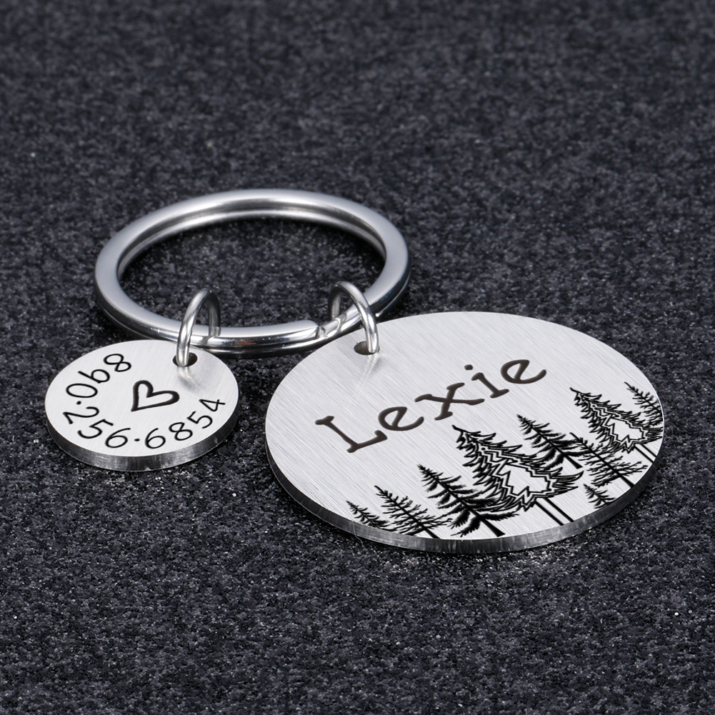 Personalized Dog ID Tags Gift for Dog Lovers Forest Heart Anti-lost Pet Collar Tags for Dog Owner Pet Tag Puppy Tag Gift
