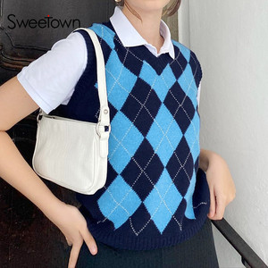 Sweetown Argyle Plaid Knitted Sweater Vest Female England Preppy Style Y2K Clothes V Neck Casual 90s Knitwear Autumn Winter