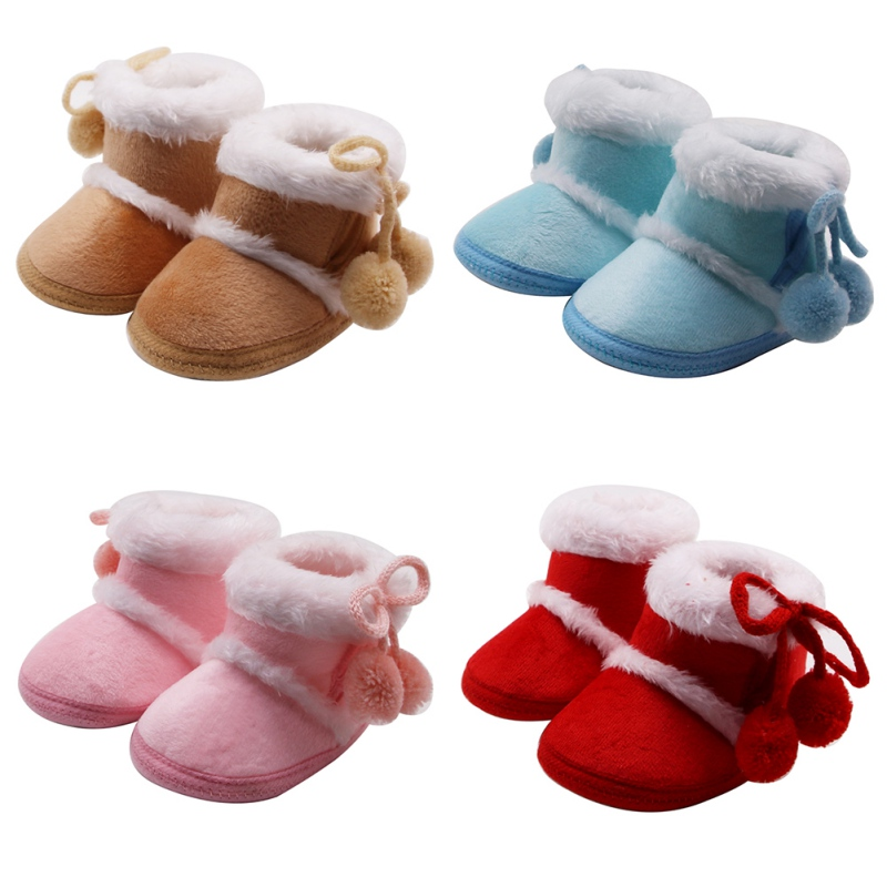 Infant Baby Boys Girls First Walker Shoes Warm Winter Snow Boots Adjustable Crib Shoes with No-Slip Sole