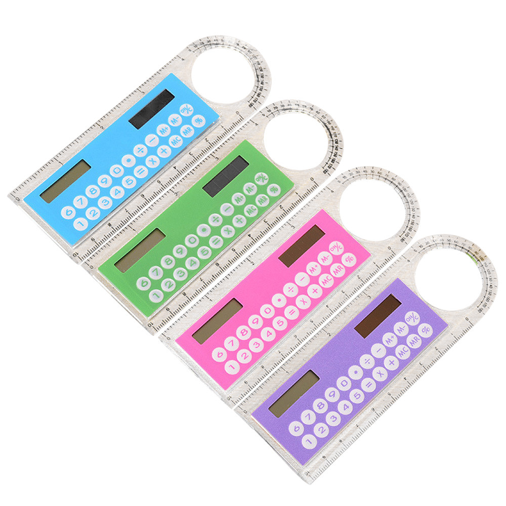Mini Solar Calculator Fashion Multifunction 10cm Ruler Student Ultra-thin Ruler Calculadora School Office Supplies