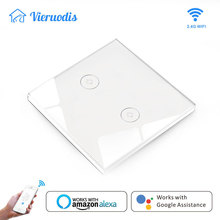 Smart Light Switch Wifi Switch Smart Home System Glass Panel Mobile APP Remote Control Work With Amazon Alexa Google Home 2 Gang