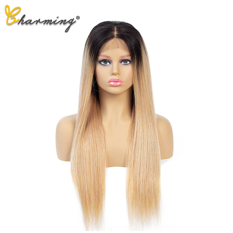 CHARMING Straight Lace Front Wig Remy Lace Frontal Wig 150% Density 4X4 Peruvian Straight Lace Front Human Hair Wigs T1B/27