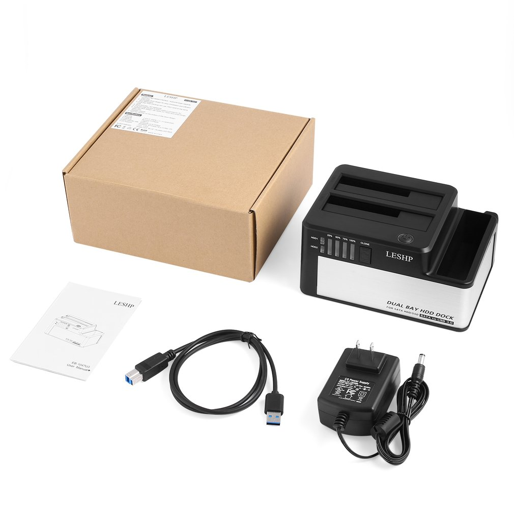 Dual Bays HDD Dock USB 3.0 To SATA HDD SSD Docking Station With Clone For 2.5