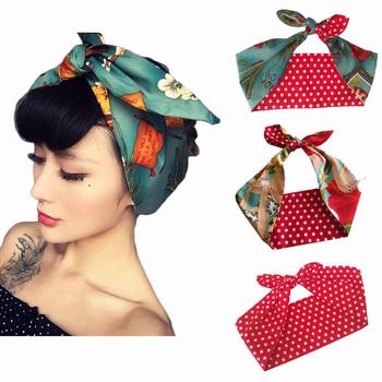 Mujer vintage 50s estampado de calavera diadema de lunares accesorios para el cabello diadema y lazo rockabilly pinup wire scarf 16 estilos
