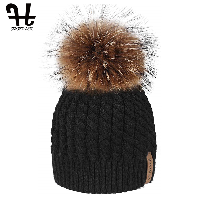 FURTALK Winter Beanie Hat For Women Pompom Hat Knitted Warm  Winter Hat Double Layer Female Cap With Real Raccoon Fur Pom Pom