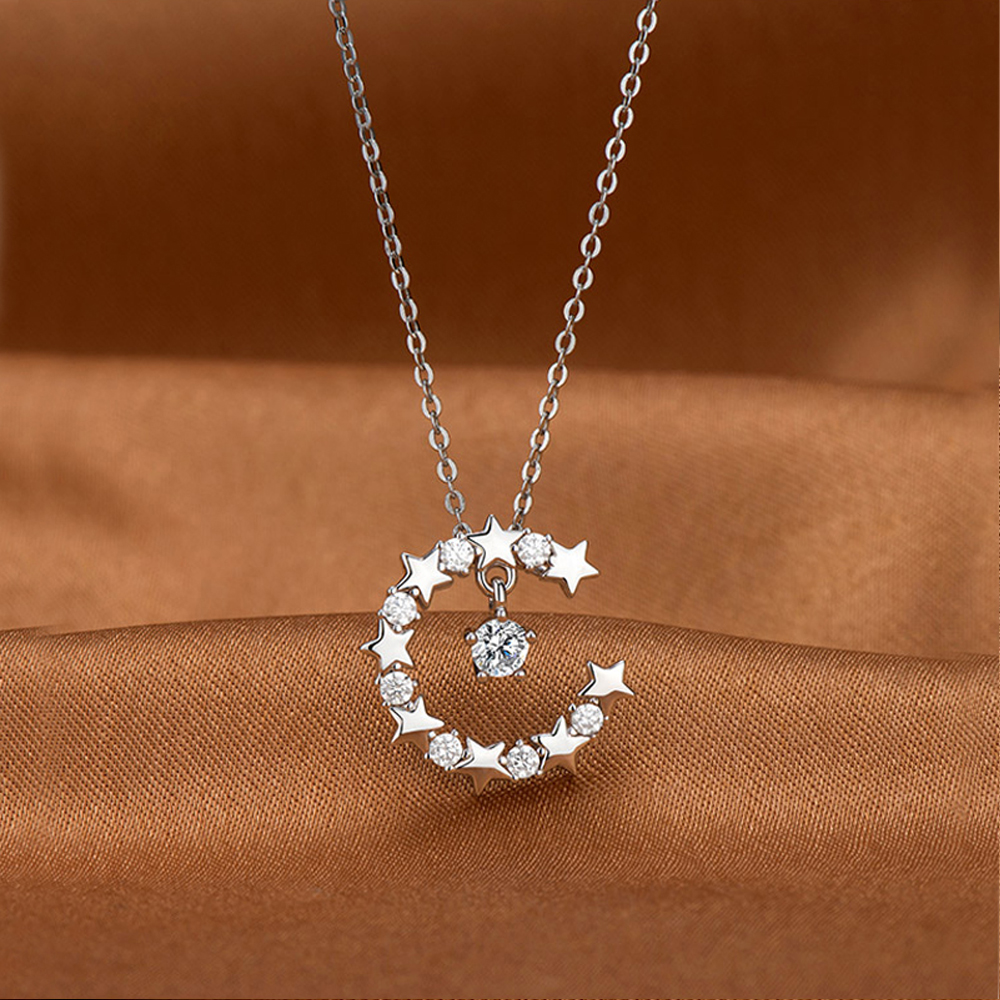 Hot sales Fashion 100% 925 Sterling Silver Necklaces for Women & Girl Moon Star zircon Pendant 18 inches Choker Charm Jewelry