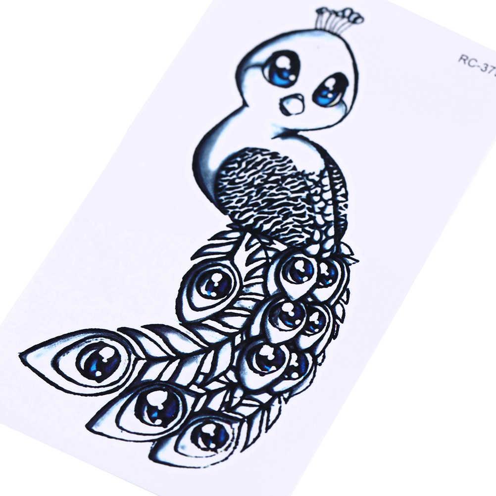 Waterdichte Leuke Mini Pauw Tijdelijke Tattoo Sticker Arm Pauw Oude School Tatto Stickers Flash Tatoo Fake Tatoeages Voor Vrouwen