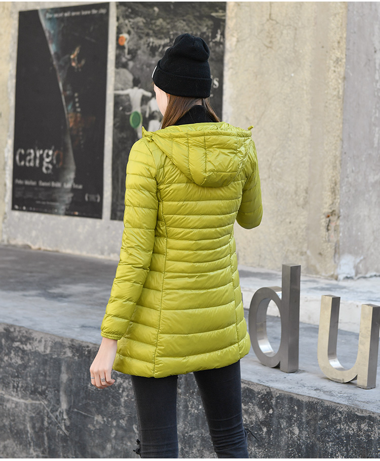 7XL Winter Woman Padded Hooded Long Jacket White Duck Down Female Overcoat Ultra Light Slim Solid Jackets Coat Portable Parkas