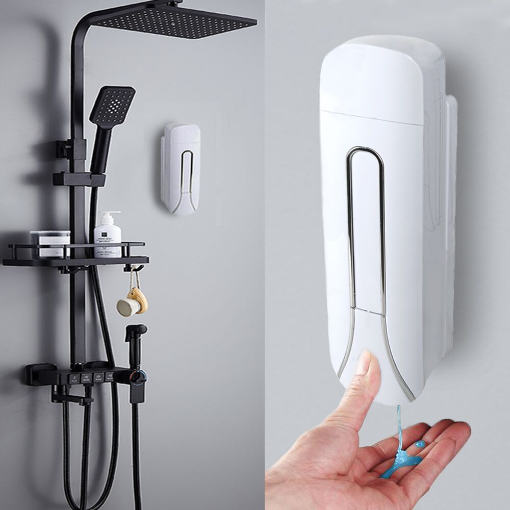 Ha43c155a21564d0097f8317a8e3c2988e Bathroom Liquid Soap Dispenser Wall Mounted For Kitchen Plastic 350ml Shower Gel Detergent Shampoo Bottle Hotel Home Accessories