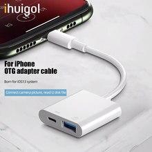 Ihuigol otg usb para iphone adaptador para usb 3.0 conversor de teclado do rato u disco câmera cardreader conversor de dados para iphone 11 pro