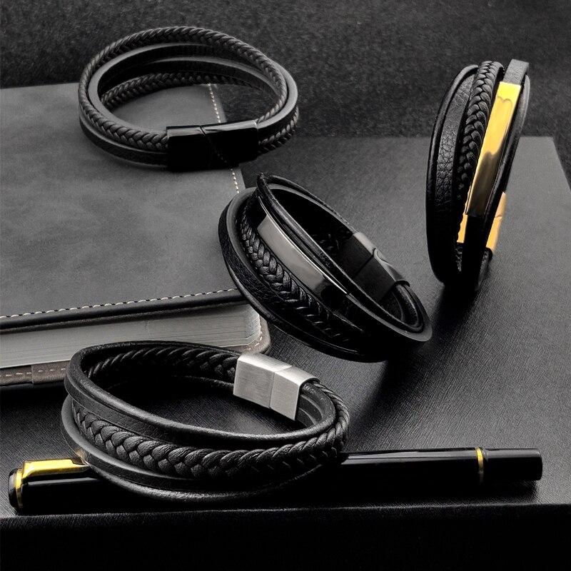 MingAo-Bracelets Chakra en acier inoxydable pour hommes, breloque Punk de Tennis, noir, bijoux de noël, Bracelets pour femme 4
