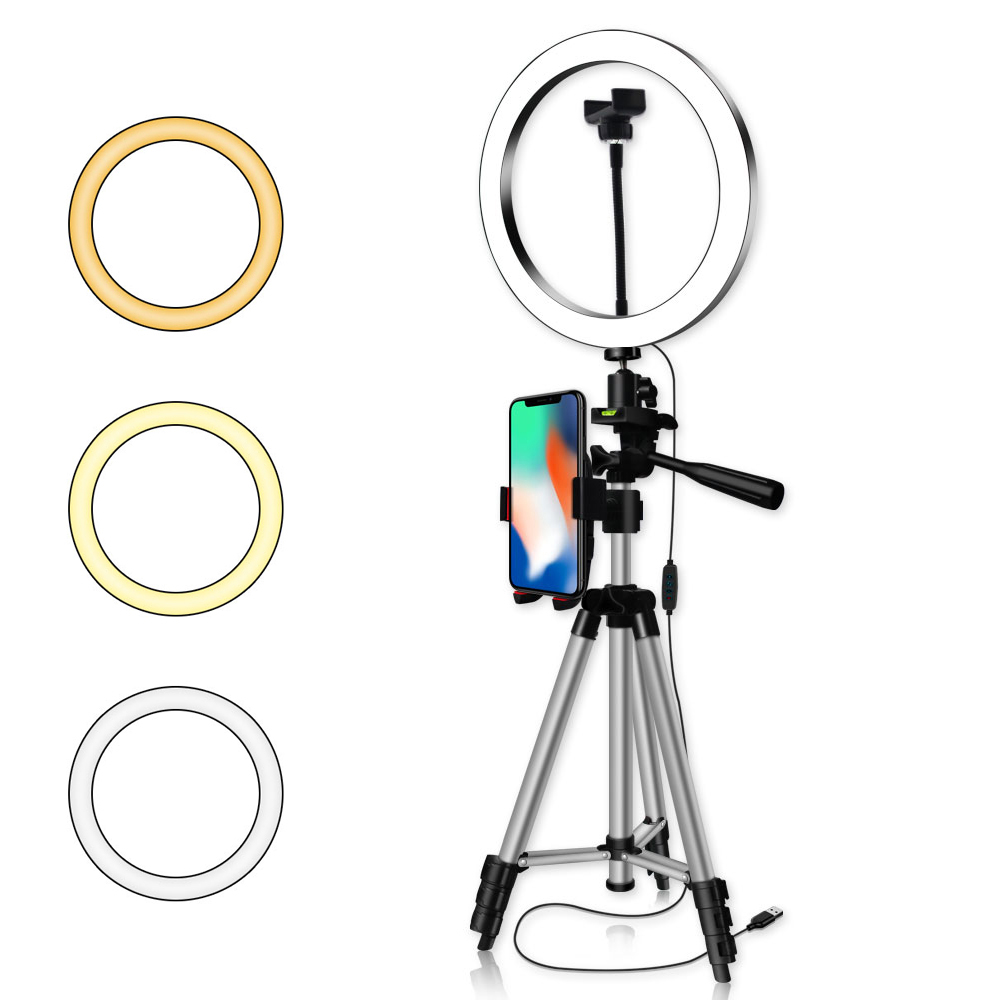 Photography Dimmable LED Selfie Ring Light Youtube Video Live 26CM Photo Studio Light Ring Lamp With Phone Holder USB Plug|Photographic Lighting|   - title=