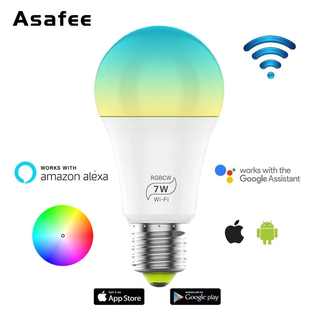 LED Wifi Smart Light Bulb Dimmable RGBW Lamp E27 For Alexa Google Magic Home New