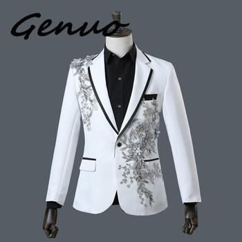 Genuo New 2020 Male Double-side 3D Crystal Embroidery Flowers Stage Singer Nightclub Suit Jacket Tide Bar Mens Wedding Blazer