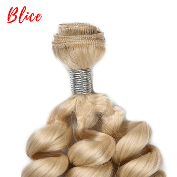 Blice 1pcs/Lot Synthetic Bouncy Curly Weaving With Double Weft Hair Extensions #613 Blonde Brown Hair Bundles For Women