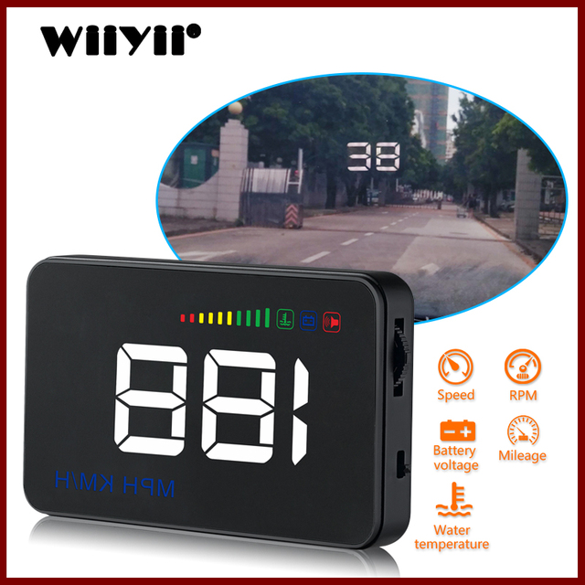 GEYIREN 2018 A500 HUD Car Overspeed Alarm Water Temperature Alarm OBDII or EU OBD interface Reflective Film Car styling