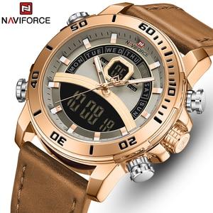 NAVIFORCE hommes montre haut de gamme marque bleu grand Sport montres hommes chronographe Quartz montre-bracelet acier inoxydable mâle horloge Reloj(China)