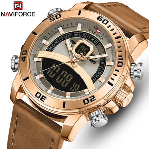 Men's Watches NAVIFORCE Leather Waterproof Quartz Watch Men Top Brand Luxury Waterproof Chronograph Male Clock relogio masculino(China)