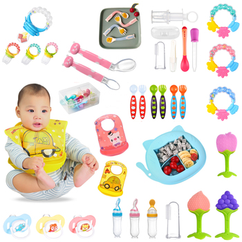 Baby Care Feeding Stuff Waterproof Silicone Bib Spoon Kids Bowl Plates Fruit Nipple Molar Rod Baby Feeding image