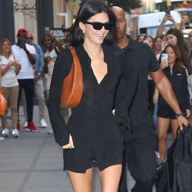 Kendall Jenner Outfit Long Shirt Top Back Hollow Shirt Slim Casual Office Winter Basics Blouses 2