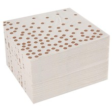 Cocktail Paper Napkins Hot Stamped with Rose Gold Foil Polka Dotwhite Color Paper Napkin Widely Used in Bar, Coffee Shops, Party(China)