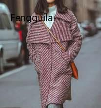 Зимнее элегантное женское Шерстяное Пальто с узором «гусиная