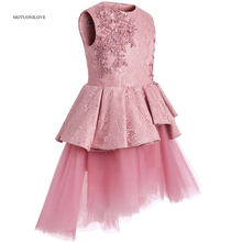 цена на High Quality High Low Lace Ruffle Flower Girl Dresses 2019 Girls Pageant Dress Short Front and Long Back Dress for Girls vestido