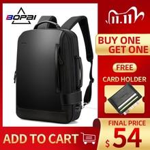 حقيبة ظهر رجالي من BOPAI مقاس 15.6 بوصة حقيبة ظهر سوداء قابلة للتمدد للرجال مزودة بوصلة USB حقيبة ظهر من النايلون للسفر للرجال