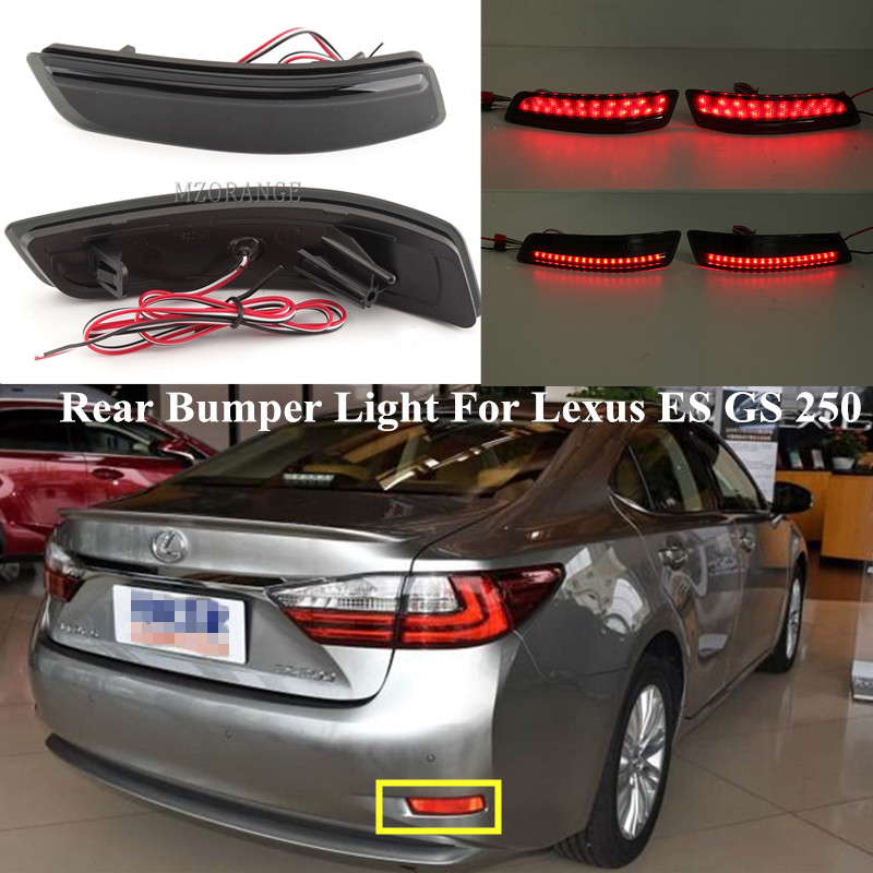 2PCS LED Rear Bumper Reflector Light For <font><b>Lexus</b></font> ES GS <font><b>250</b></font> For Toyota Corolla <font><b>2014</b></font> European version Brake Turn Signal Stop Light image