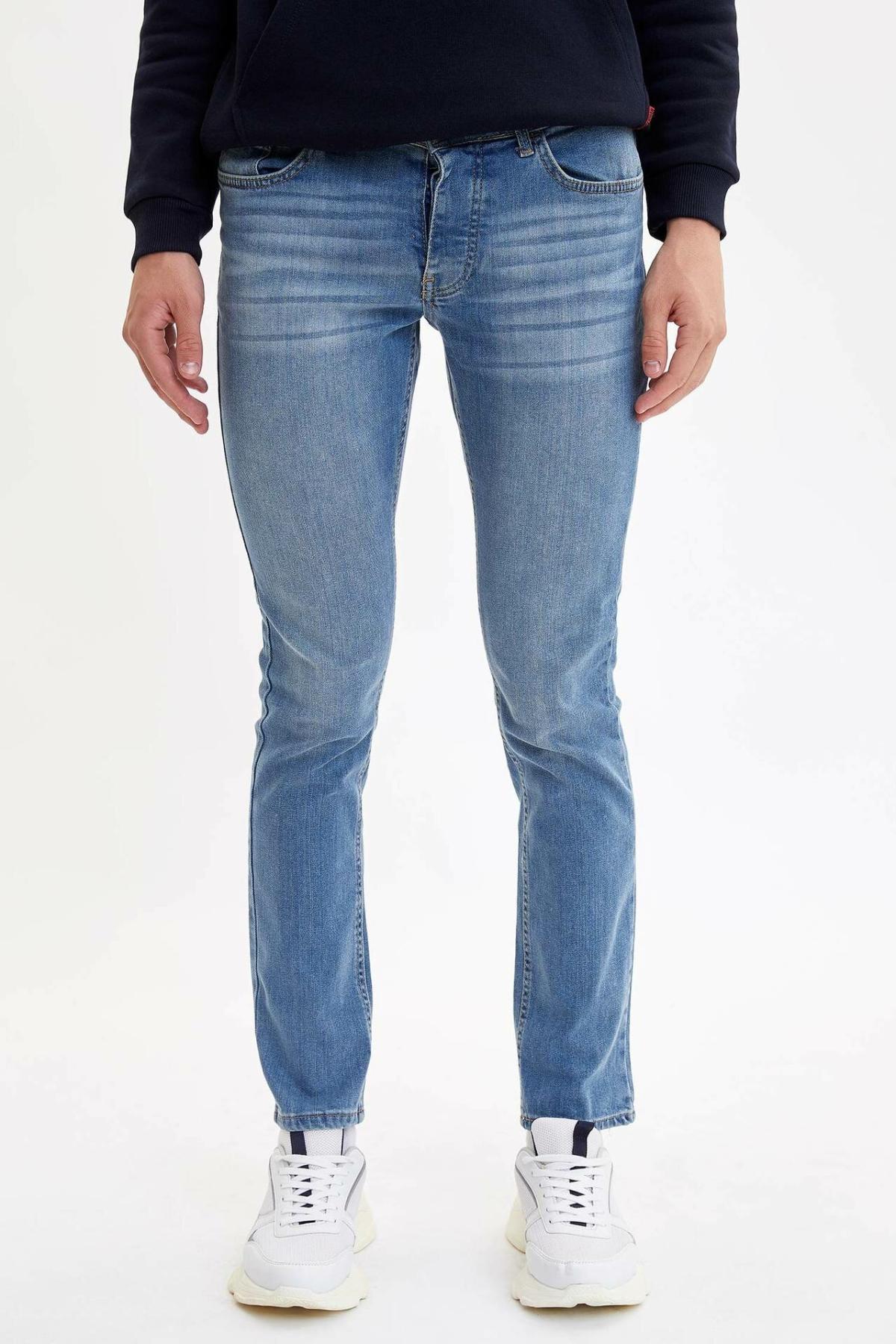 DeFacto Fashion Casual Men's Denim Pants Autumn Straight Leg Jeans Male Classic Slim Comfortable Trousers Design L6702AZ19AU