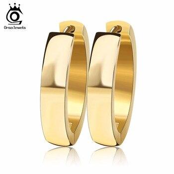 ORSA JEWELS marca única moda Punk Rock Color plata/Color dorado pequeño círculo pendientes de aro para las mujeres joyería GTE16
