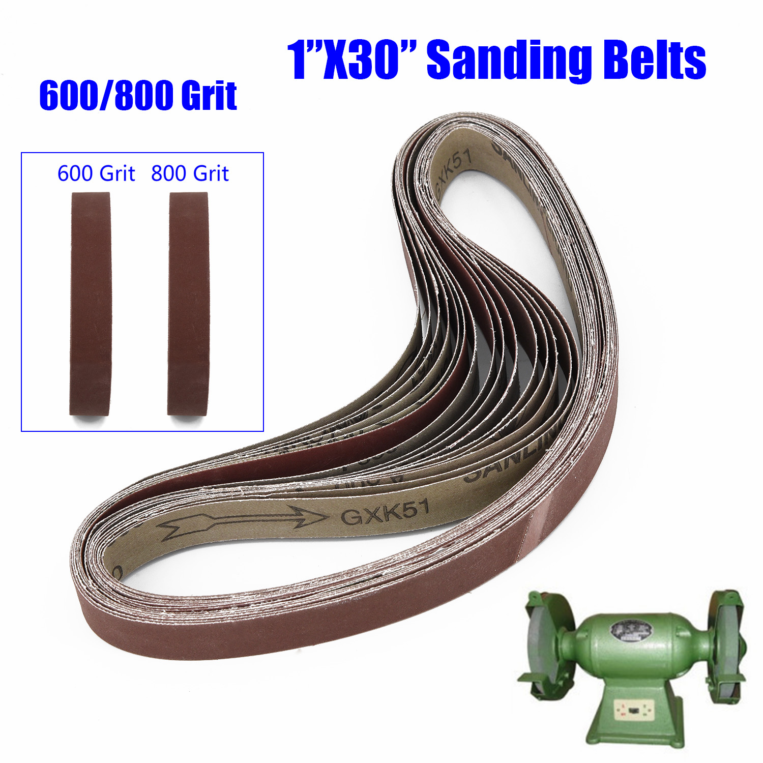 1*30 Sanding Belt Powertec 600/800/1000 Grit Aluminum Oxide 15pcs Durable