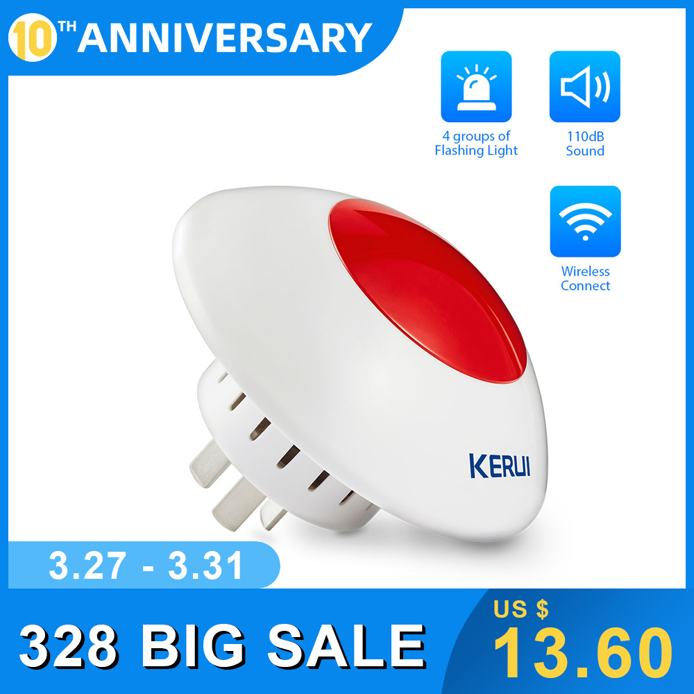 KERUI 433MHZ High Quality Wireless Flash Horn Red Light Loud  Siren For Home And Business Security Alarm System Kit